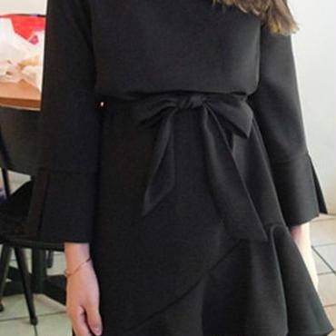 レディース ブラック フリル 腰ひも 付き フレア シンプル ワンピース フォーマル 長袖 黒