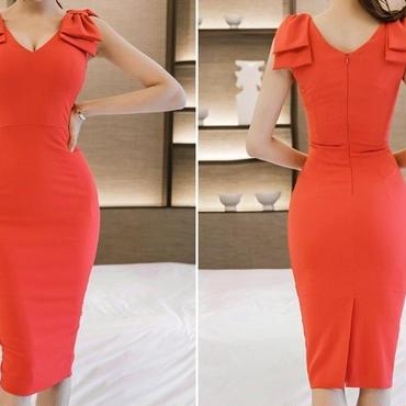 レディース 海外 インポート オレンジ レッド サイド リボン デザイン ミディ 丈 タイト ワンピース ドレス