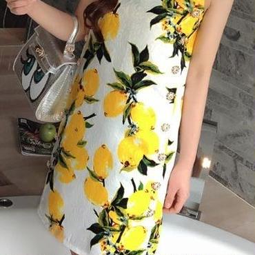 海外インポートホワイトイエローレモンデザインビジューラインストーン付きワンピースパーティードレス白黄色