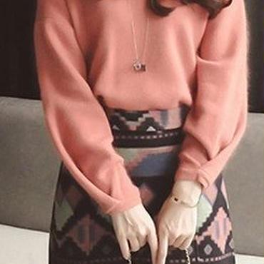 海外 インポート サーモン ピンク ニット セーター カラフル デザイン スカート セットアップ ワンピース