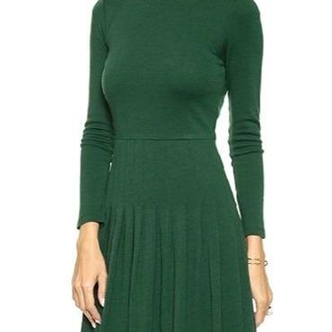 海外 インポート モス グリーン ニット プリーツ ワンピース ドレス
