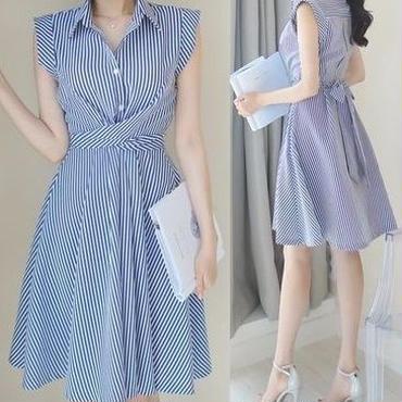 レディース 海外 インポート ストライプ シャツ 腰ひも 付き フレア ワンピース ドレス
