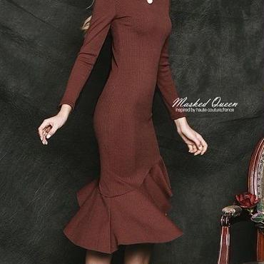 海外 インポート ブラウン ニット タイト フリル アシメントリ― デザイン ワンピース パーティー ドレス 茶色
