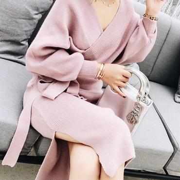 レディース ピンク カシュクール ニット ベルト 付き タイト ミディ ミモレ 膝 下 丈 ワンピース