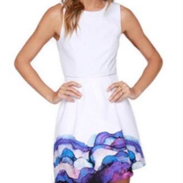海外インポートホワイトブルーパープルデザインタンクワンピースドレス白青紫色