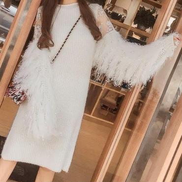 レディース ホワイト ふわふわ アンゴラ フリンジ ファー 付き ニット ワンピース 白 長袖