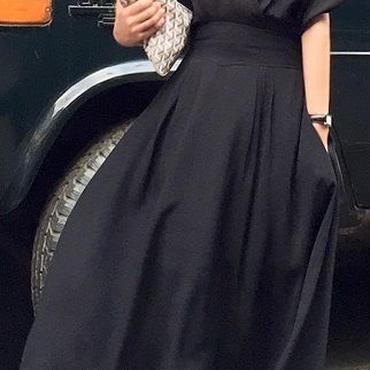 レディース 海外 インポート ブラック カシュクール 光沢 ミモレ ロング 丈 ワンピース ドレス 黒