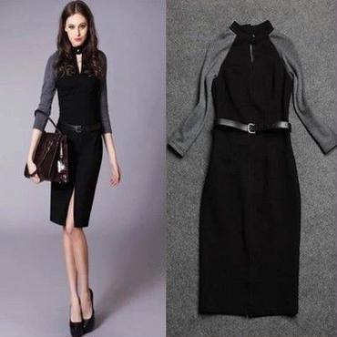 海外 インポート セレクト グレー ブラック バイカラー ベルト 付 膝丈 タイト ワンピース ドレス