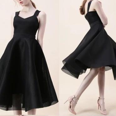 レディース ブラック チュール フレア ミモレ 丈 ワンピース パーティー ドレス 黒