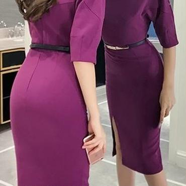 レディース パープル タイト ベルト 付き ミディ ひざ 下 丈 ワンピース ドレス 紫