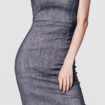 レディース 海外 インポート グレー シンプル キャミソール ワンピース ドレス