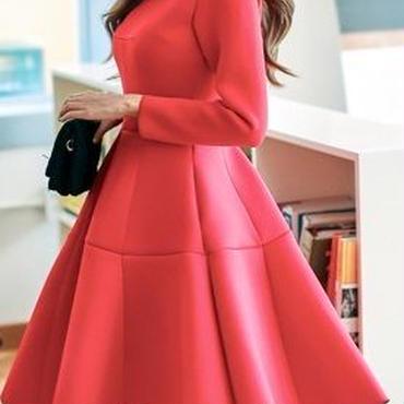 レディース レッド フレア ワンピース パーティー ドレス 赤 長袖