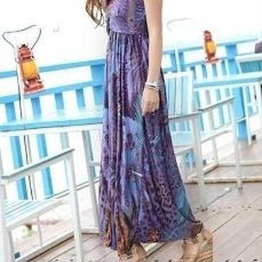 海外インポートセレクトパープルミックスプッチ風デザインマキシワンピースドレスロング紫
