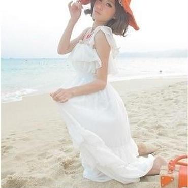 海外インポートセレクトホワイトシフォンリボンマキシワンピース白ロングドレス