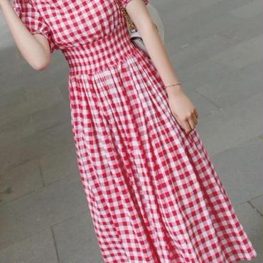 レディース 海外 インポート レッド ホワイト コットン ギンガム チェック ミモレ丈 ワンピース ドレス