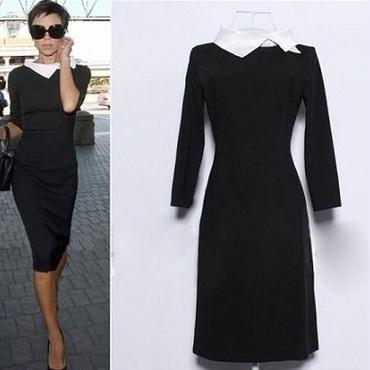 海外インポートセレクトブラック×ホワイト襟付ヴィクトリアベッカム着用ワンピースドレス