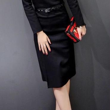 海外インポートブラックベルト付ミディミモレ丈きれいめワンピースドレス