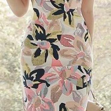 レディース 海外 インポート ホワイト ピンク ブルー イエロー フラワー デザイン ワンピース ドレス 花柄