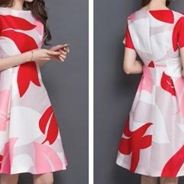 海外インポートホワイトグレーピンクレッドリーフプリントデザインフレアーワンピースドレス