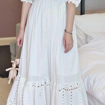 レディース 海外 インポート ホワイト コットン オフショルダー マキシ ワンピース ドレス ロング 白