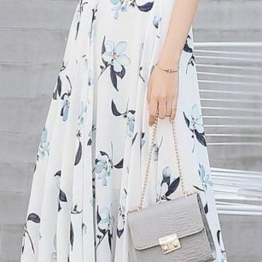 レディース ホワイト ブルー フラワー フリル デザイン マキシ ワンピース ドレス ロング 白 青 花柄