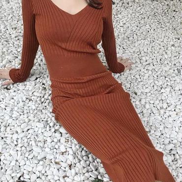 レディース ブラウン キャメル リブ ニット タイト ワンピース 長袖 茶色