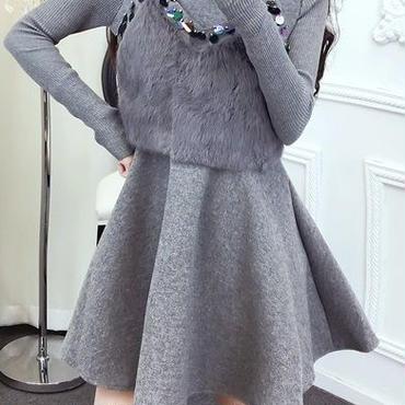 レディース グレー ふわふわ ファー ビスチェ 付き フレア ワンピース ドレス 長袖