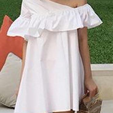 レディース 海外 インポート ホワイト コットン ワンショルダー フリル ワンピース ドレス ミニ