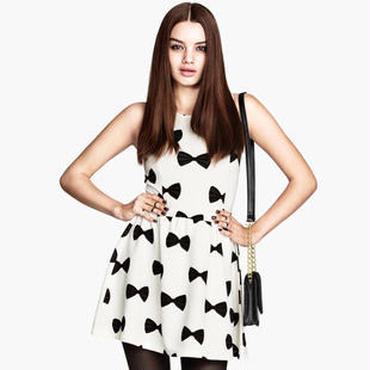海外インポートセレクトホワイト×ブラックリボンデザインワンピースドレス白