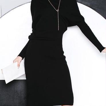 海外インポートブラックタートルミディミモレ丈ニットワンピースドレス黒色