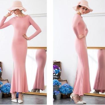 海外インポートセレクトピンクフラワーデザイン付マーメイドスカートワンピースドレス