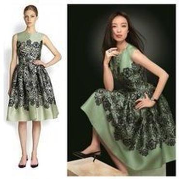 海外インポートグリーン×ブラックレースデザインワンピースドレス
