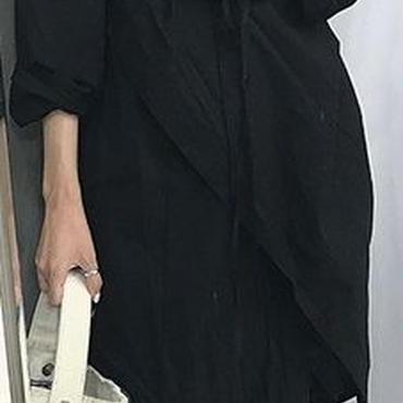 レディース 海外 インポート ブラック シャツ カシュクール デザイン ロング 丈 ワンピース ドレス 黒