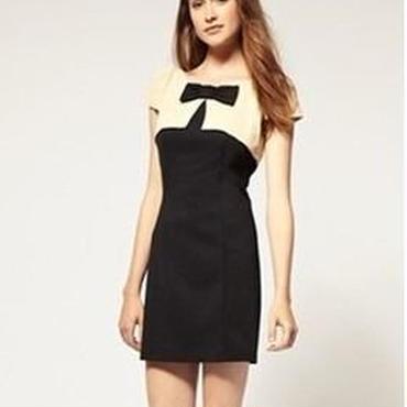 海外インポートセレクトベージュ×ブラックバイカラーリボン上品ワンピースドレス