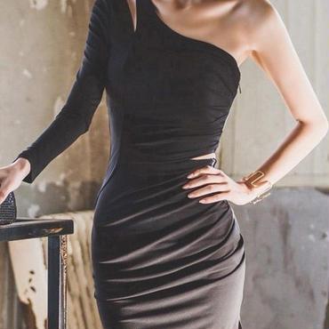 レディース 海外 インポート ブラック ワンショルダー タイト デザイン ワンピース ドレス