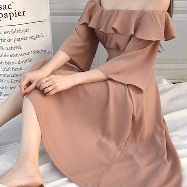 レディース 海外 インポート ブラウン フリル オフショルダー ミモレ 丈 ワンピース ドレス