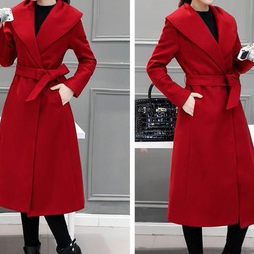 海外 インポート セレクト レッド フレアー 腰ひも ベルト付 シンプル ドレス コート 赤