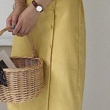 レディース 海外 インポート イエロー スカラップ トップス スカート セットアップ ワンピース ドレス 黄色