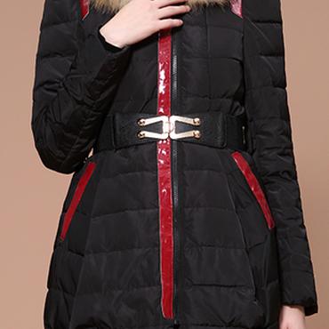 海外 インポート ブラック ブラウン フォックス ファー フード 付き ベルト 付 ダウン ジャケット コート