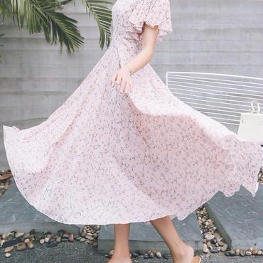 レディース ベビー ピンク フラワー フリル デザイン マキシ ワンピース ドレス ロング 小花柄