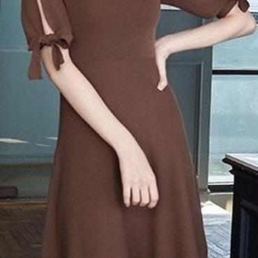 レディース 海外 インポート ブラウン ニット 肩 だし みせ フレア ワンピース ドレス