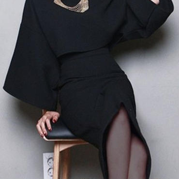 レディース ブラック バルーン トップス ミディ 丈 スカート セットアップ ワンピース ドレス 黒