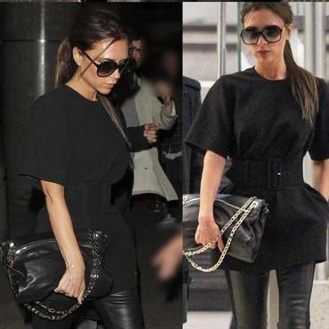 海外インポートセレクトヴィクトリアベッカム着用デザインブラック太ベルト付ミニワンピースドレス黒