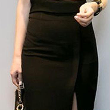 レディース 海外 インポート ブラック オフショル デザイン トップス ミディ 丈 スカート セットアップ ワンピース ドレス