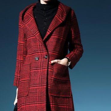 海外 インポート レッド ブラック チェック ウール 混 ジャケット コート 赤 黒 色