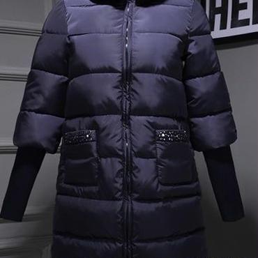 海外 インポート ネイビー ラビット ファー ビジュー ラインストーン 付き ダウン ジャケット コート