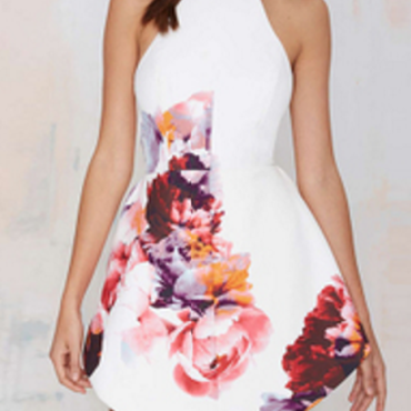 海外インポートホワイトカラフル―フラワーデザインワンピースドレス白赤ピンク色花柄