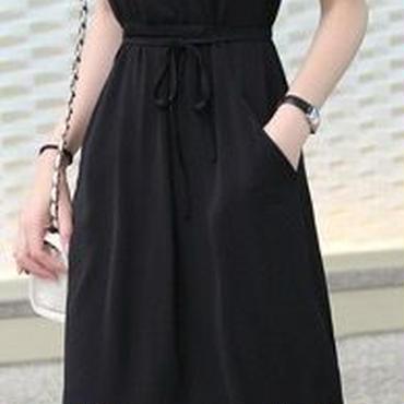 レディース ブラック カシュクール ミディ ミモレ 丈 ワンピース ドレス 黒