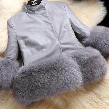 海外 インポート セレクト グレー レザー 風 ボリューム 裾 ファー 付 ジャケット コート アウター