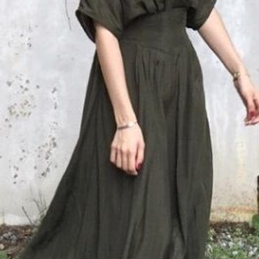 レディース 海外 インポート カーキ カシュクール ミモレ ロング 丈 光沢 ワンピース ドレス